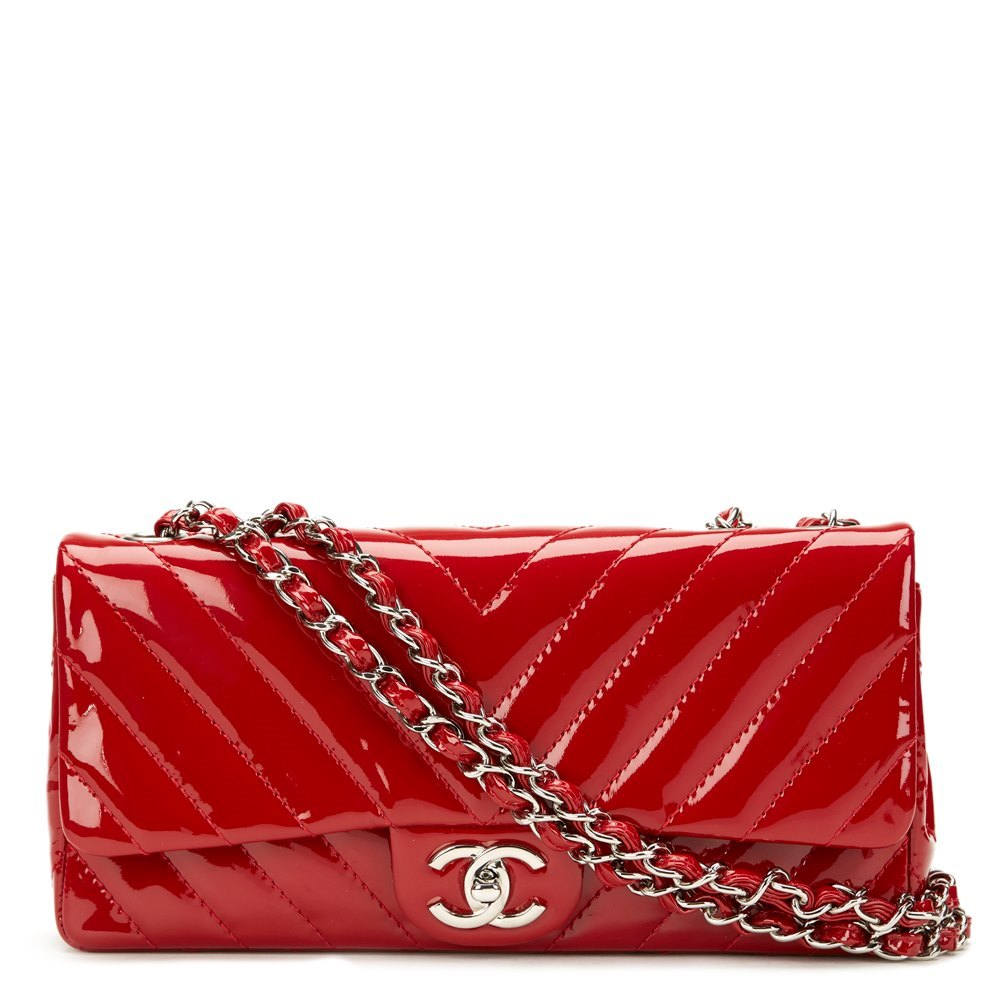 df44cd15feba Chanel Red Chevron Quilted Patent Leather East West Classic Single Flap Bag