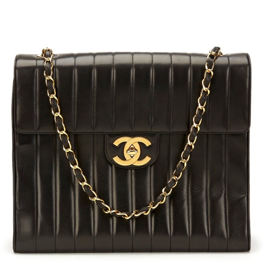 2ae0651ee70fbd Chanel Black Vertical Quilted Lambskin Vintage Maxi Jumbo XXL Flap Bag