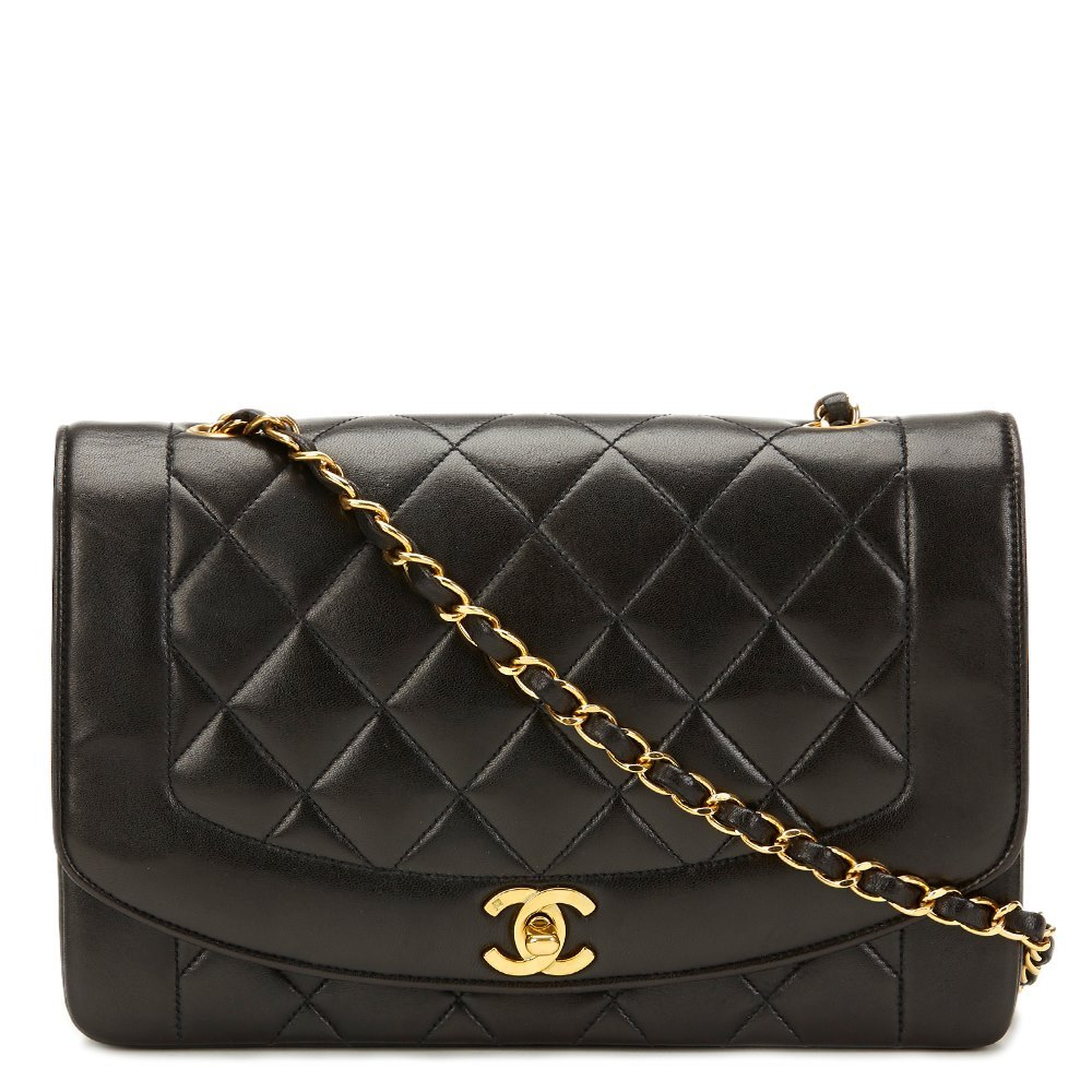 f22eb5739cd8 Chanel Black Quilted Lambskin Vintage Medium Diana Classic Single Flap Bag