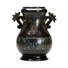 Large Antique Chinese Archaic Champleve Enamel Vase 19th C.