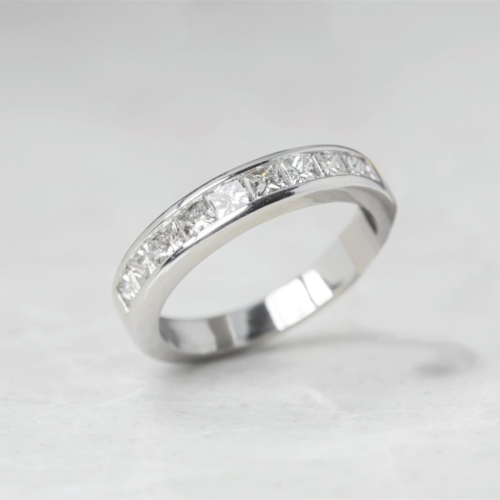 Platinum, total weight - 5.46 grams  Platinum Princess Cut 0.50ct Diamond Half Eternity Ring