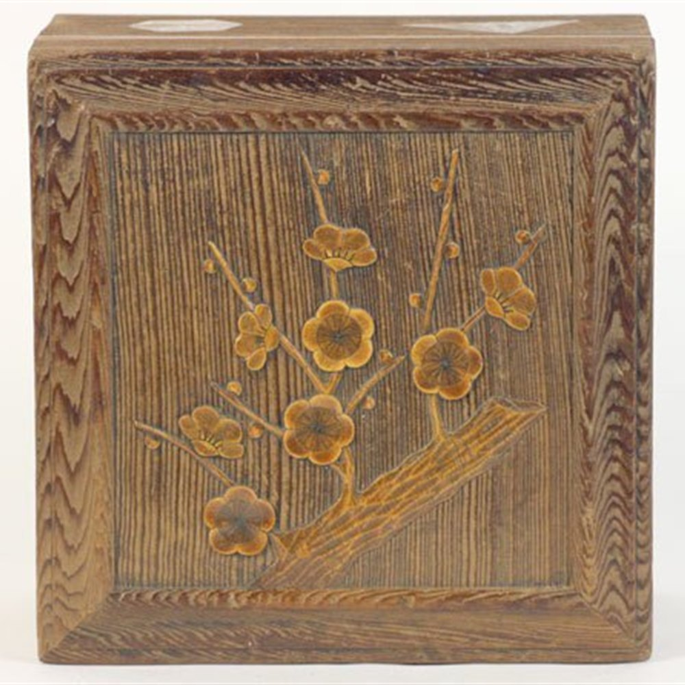 Japanese Carved Wooden Box Circa 1900