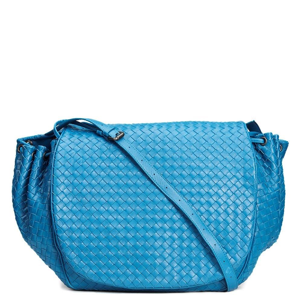 Bottega Veneta Blue Woven Lambskin Messenger Bag 45718e089f49c