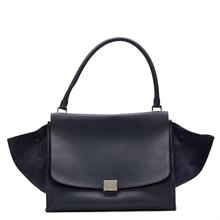 Céline Navy Drummed Calfskin Leather & Suede Large Trapeze