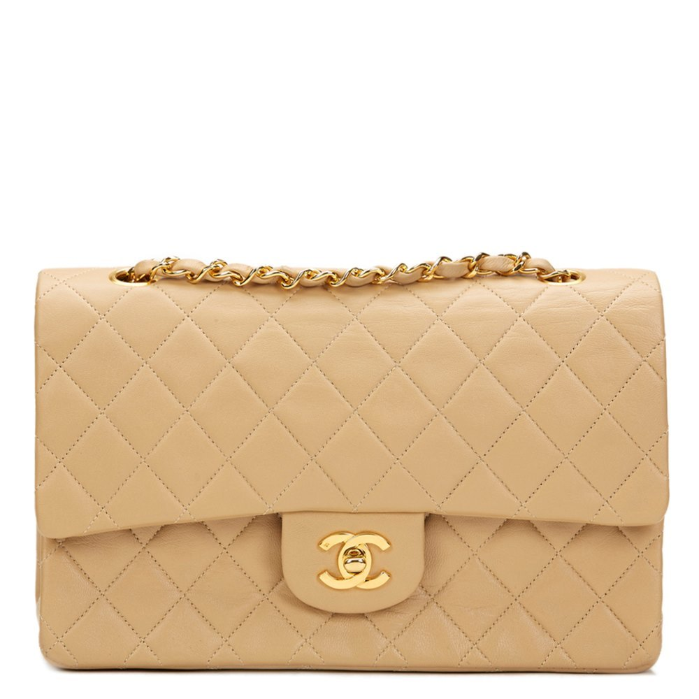 Chanel Beige Quilted Lambskin Vintage Medium Classic Double Flap Bag 7f9a0277f3432