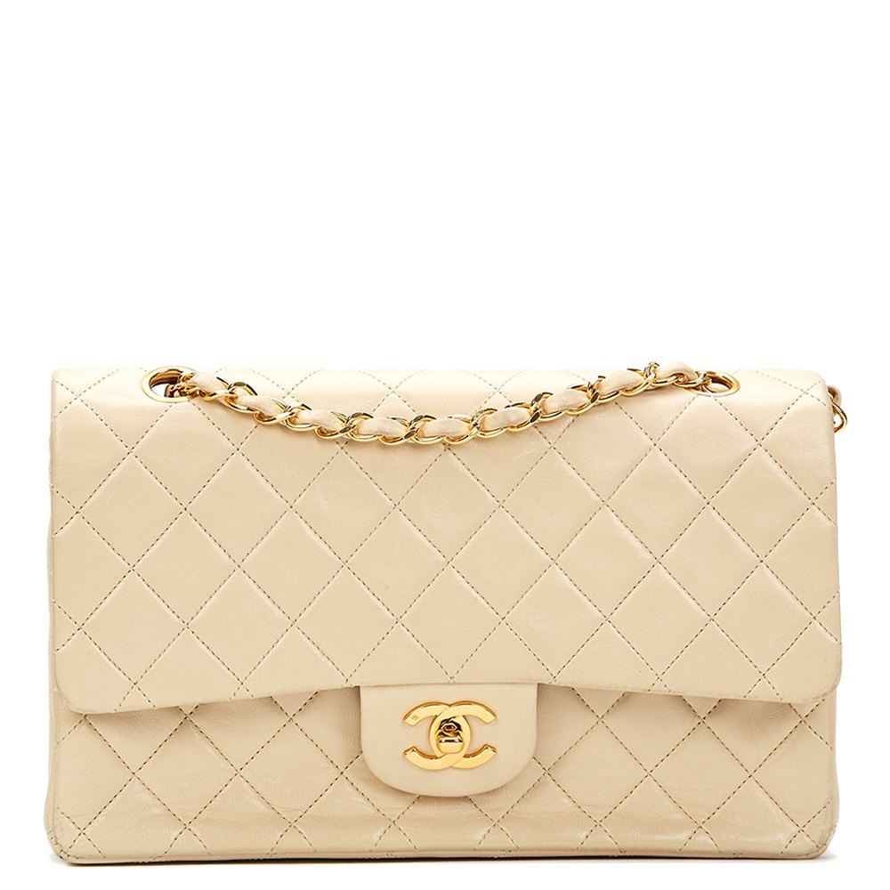 49b629ea230db Chanel Ivory Quilted Lambskin Vintage Medium Classic Double Flap Bag