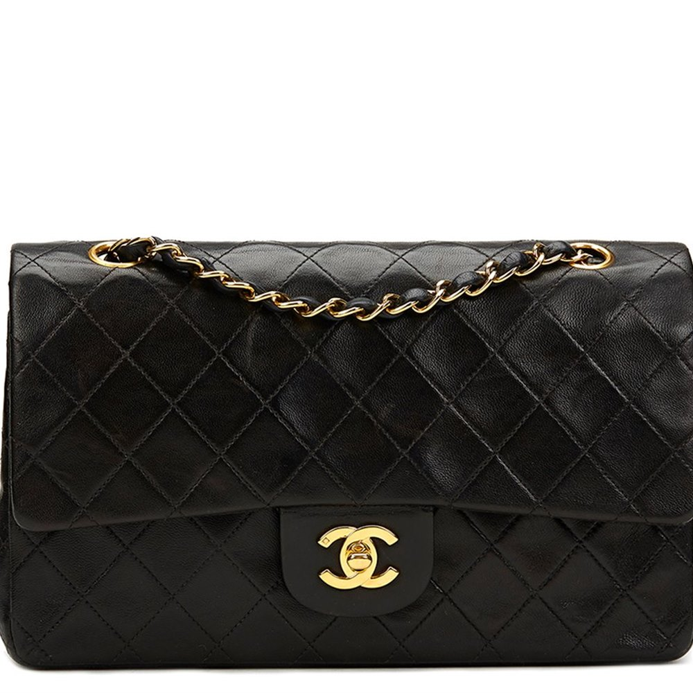 2a475fc67156 Chanel Black Quilted Lambskin Vintage Medium Classic Double Flap Bag
