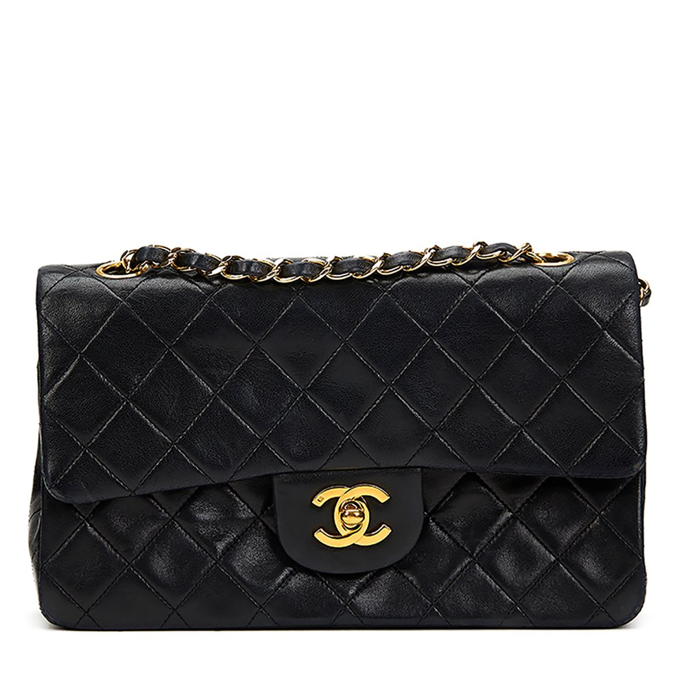 d488bf315e05 Chanel Black Quilted Lambskin Classic Small Double Flap Bag ...