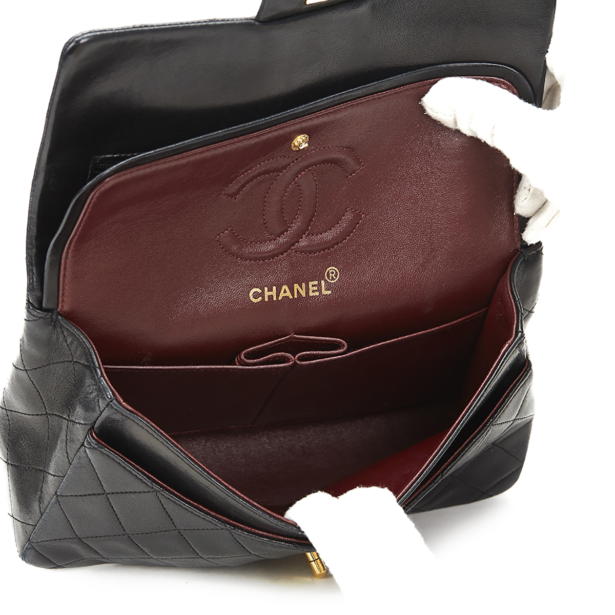 Chanel Black Quilted Lambskin Vintage Small Classic Double