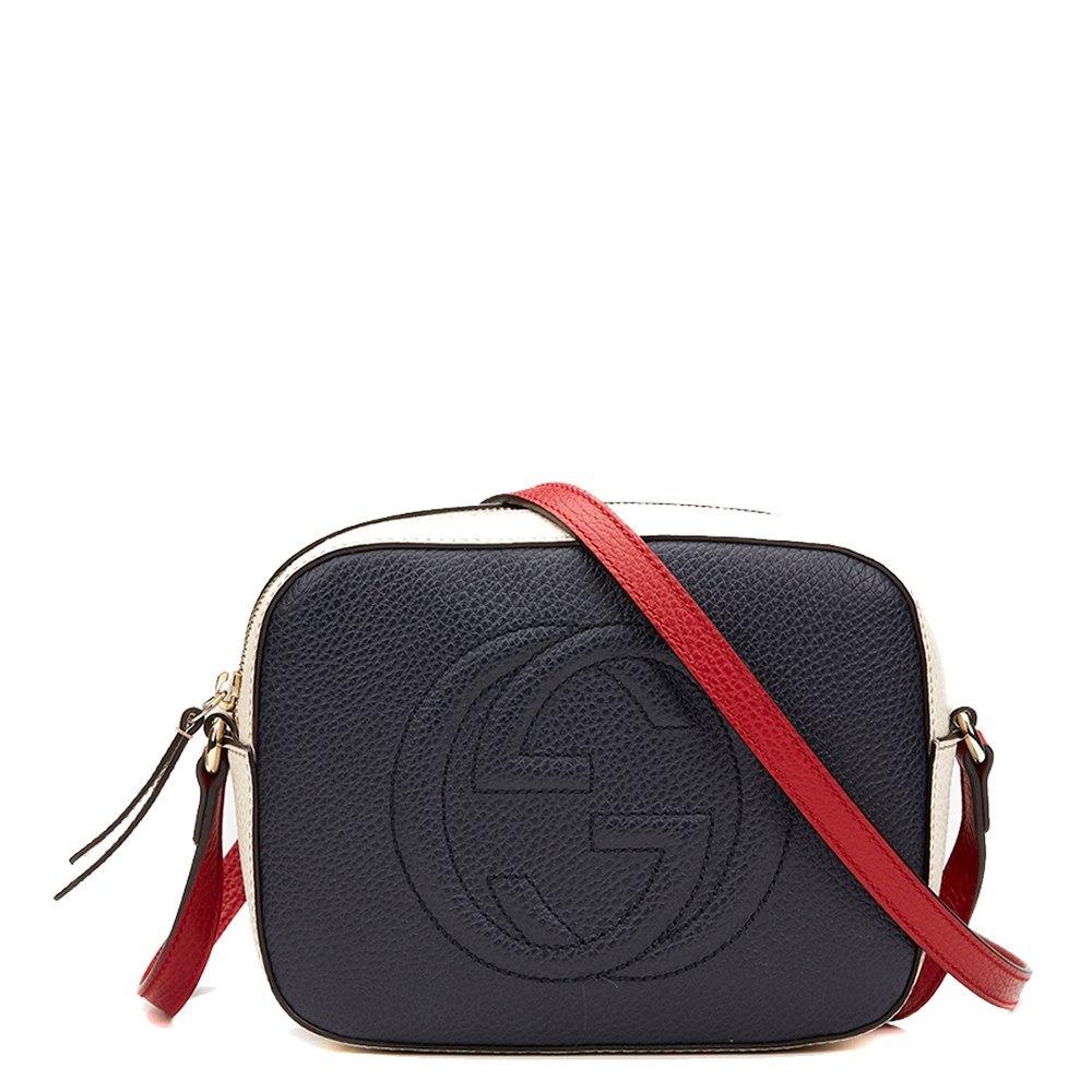 Gucci Blue Hibiscus Red White Calfskin Soho Disco Bag
