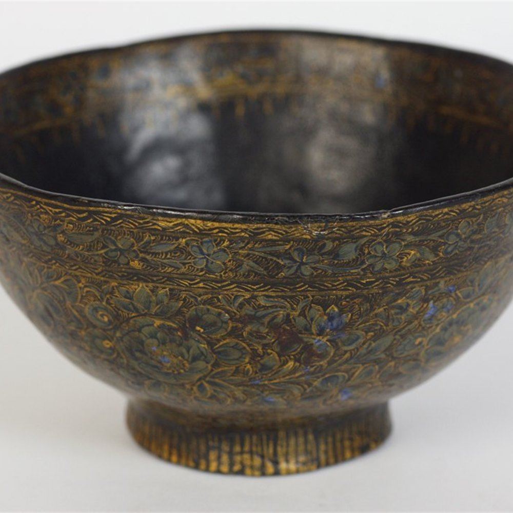Qajar Papiermache Floral Bowl Believed to date from the 18th Century but possibly earlier