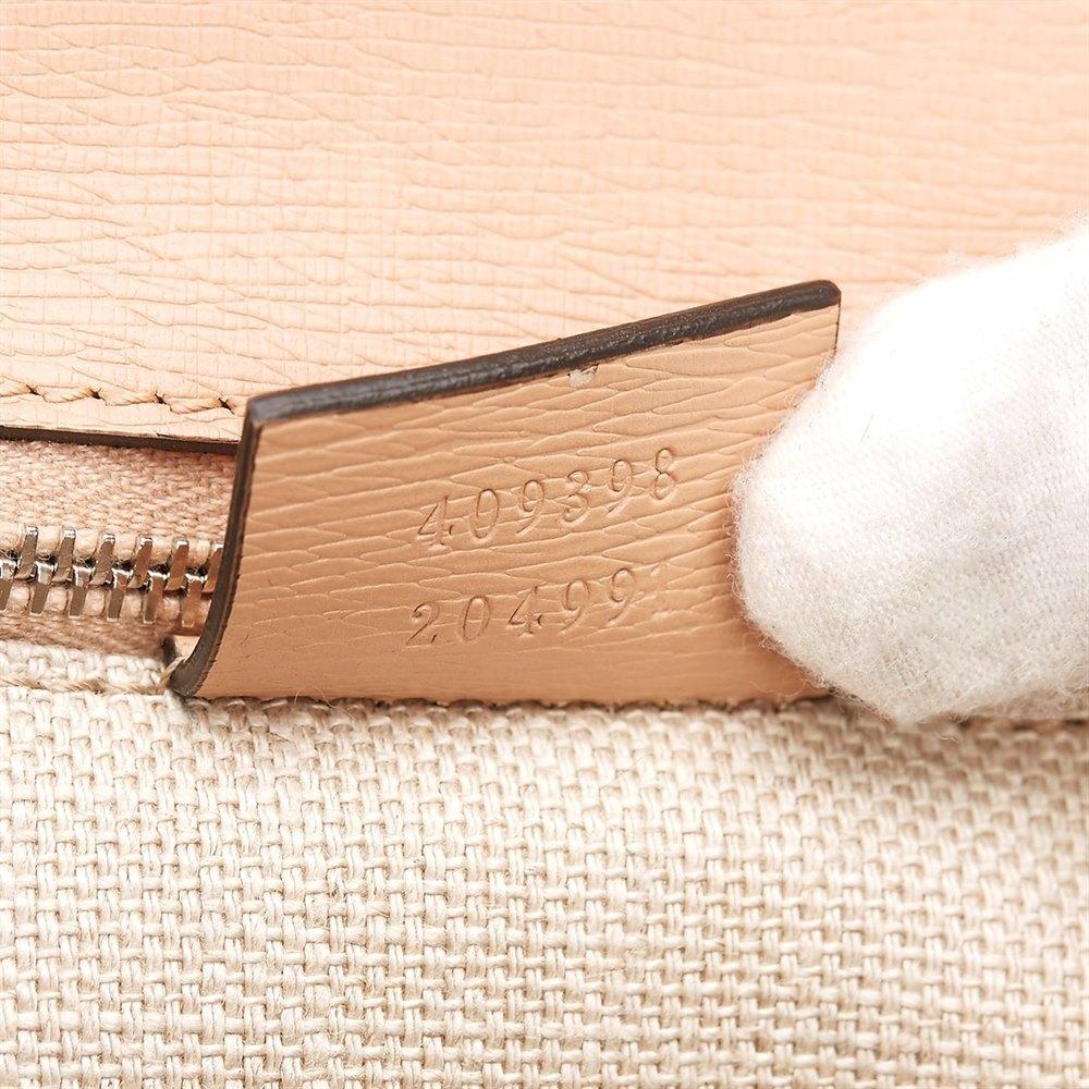 78050ebac4 Gucci Blush Pink Textured Calfskin Bamboo Classic Top Handle