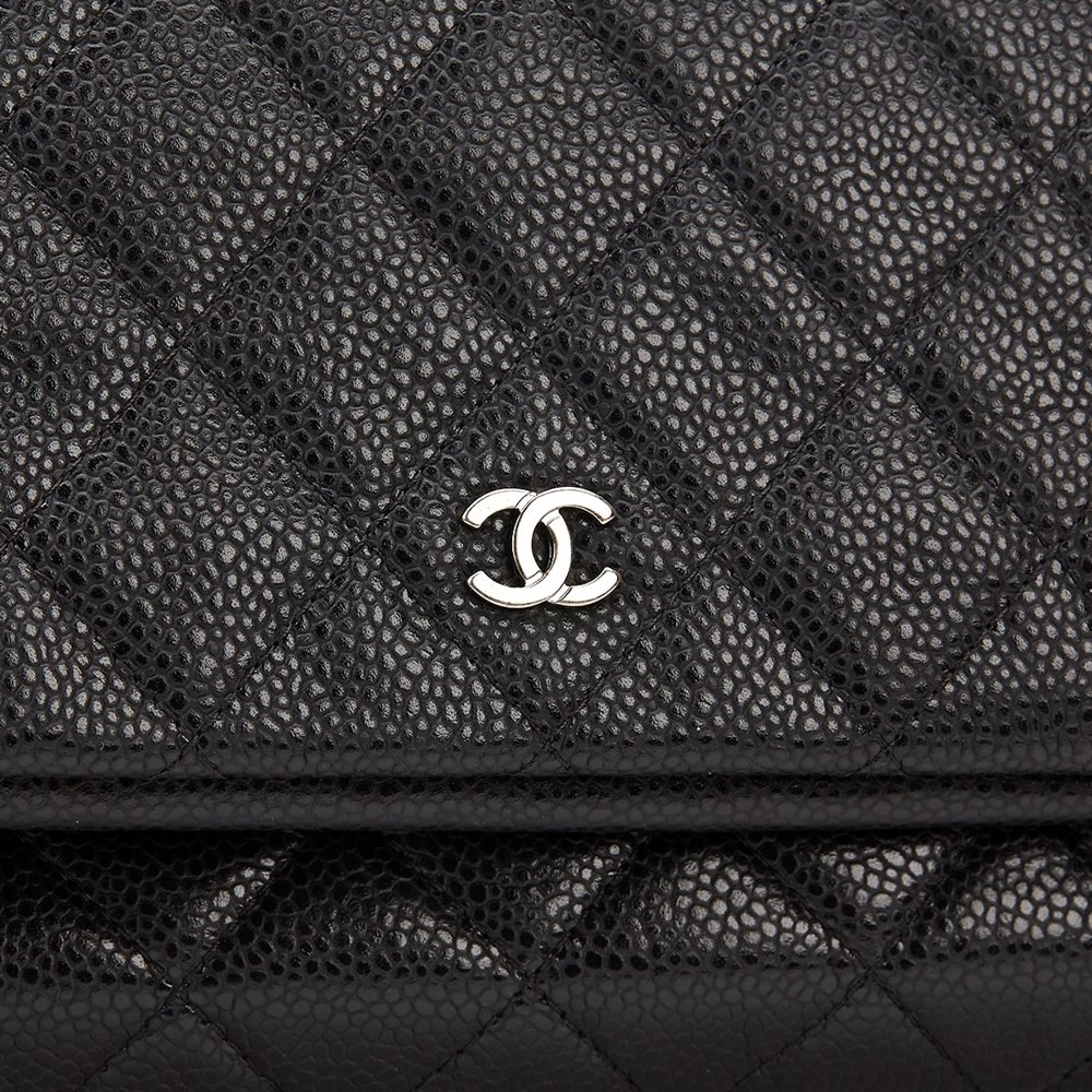 00b3a917e9bc Chanel Black Quilted Caviar Leather Beauty CC Foldover Clutch