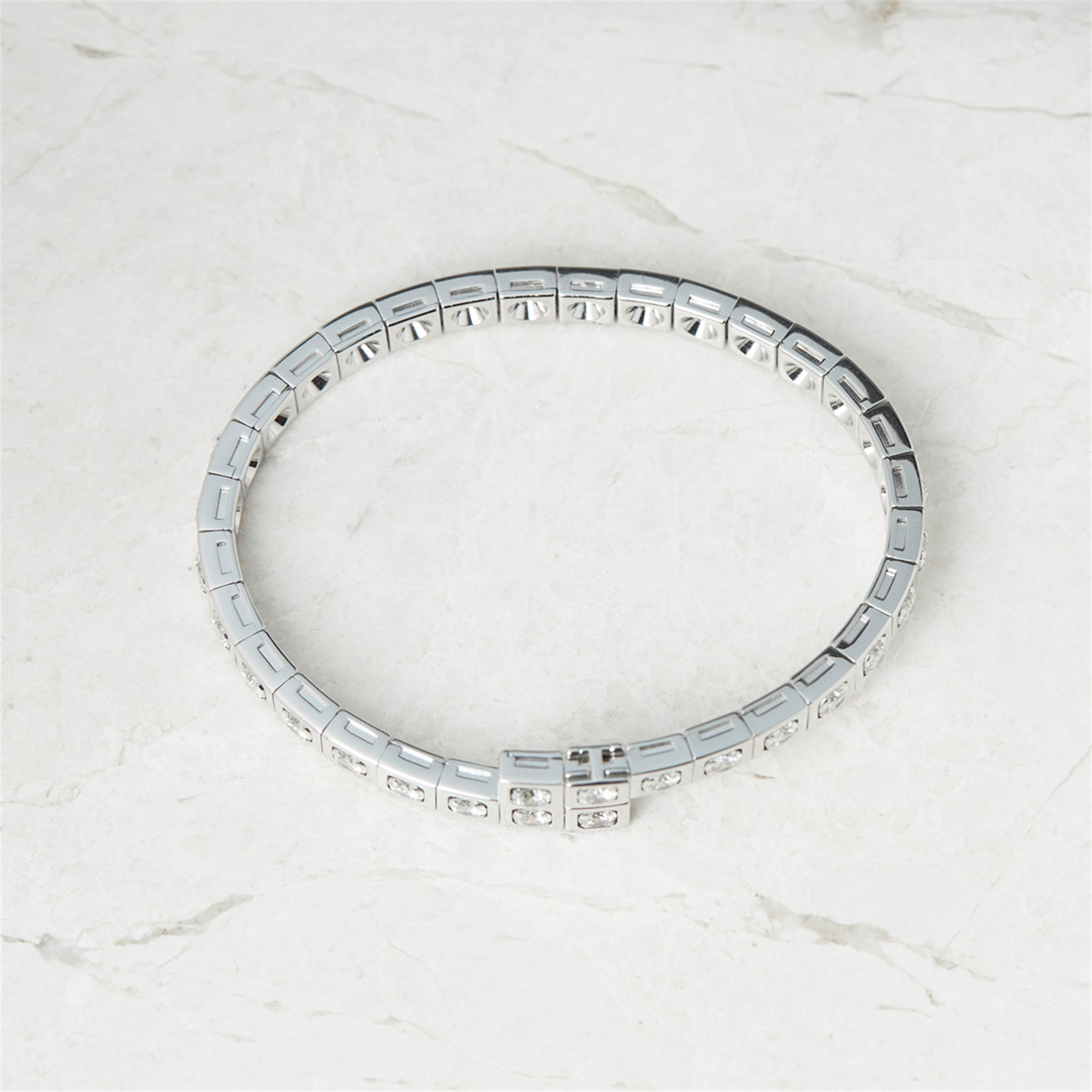 Cartier 18k White Gold Diamond Tectonique Bracelet