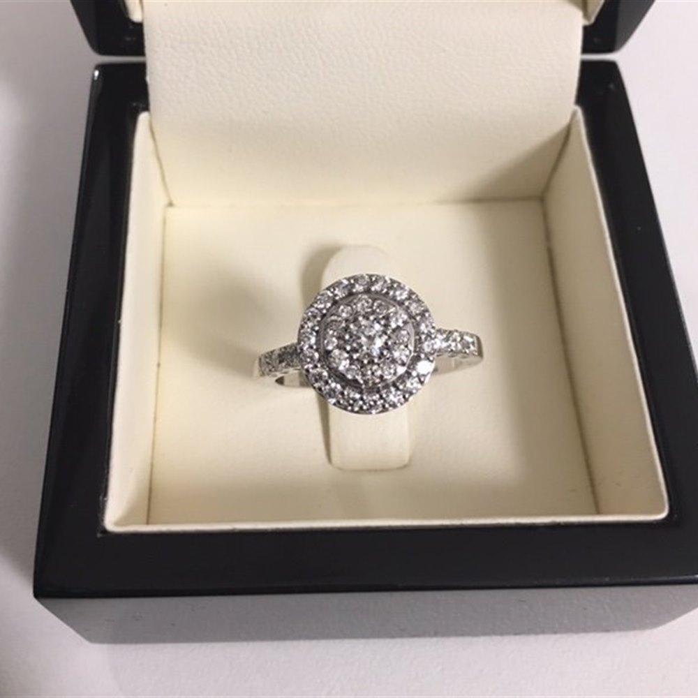 18k White Gold 18k White Gold 0.95ct F VS Diamond Cluster Ring (Mappin & Webb Style)
