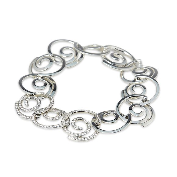 Breguet 18k White Gold Diamond Circle Link Bracelet