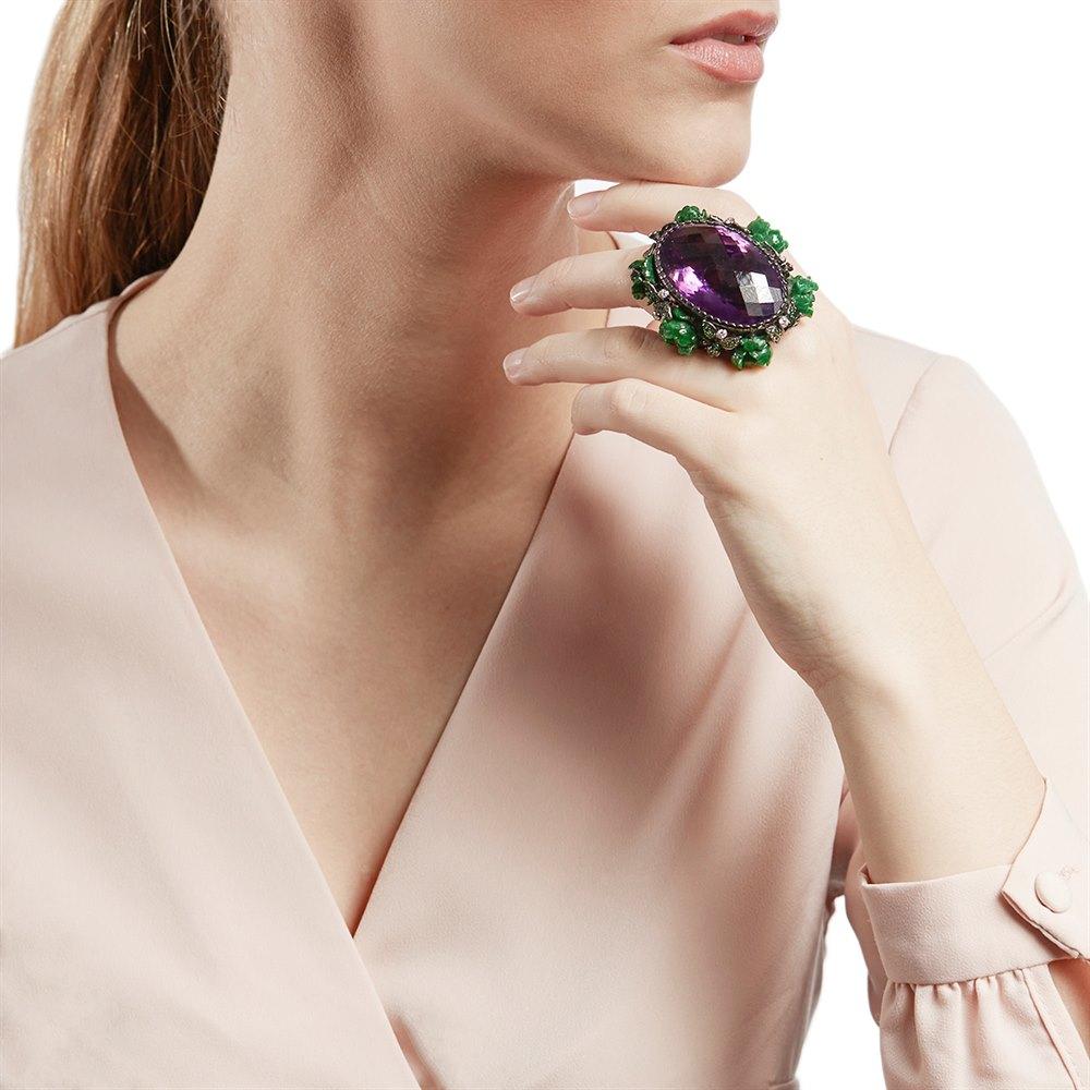 Lydia Courteille 18k White Gold Amethyst Flower Design Ring