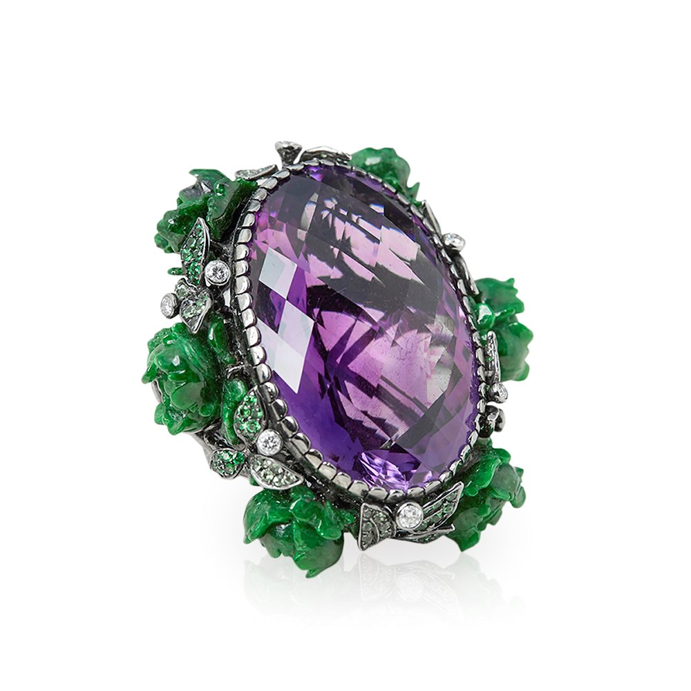 Lydia Courteille 18k White Gold Amethyst Large Flower Design Cocktail Ring