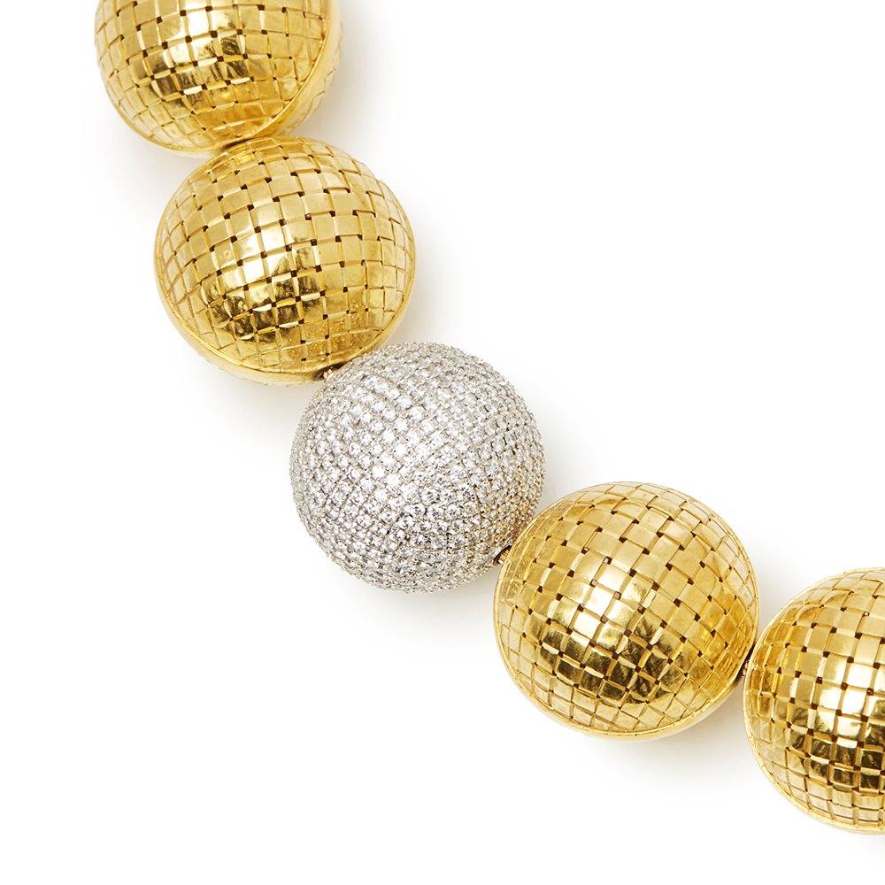 Bottega Veneta 18k Yellow & White Gold Diamond Sfera Necklace