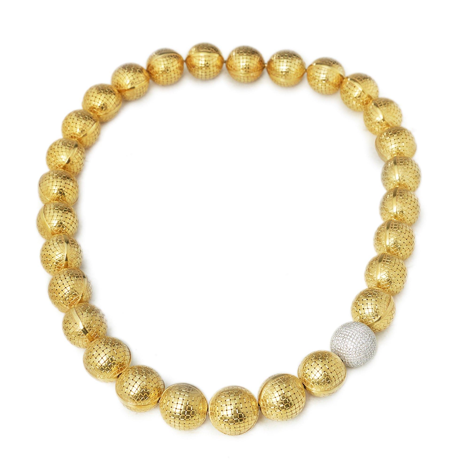 Bottega Veneta 18k Yellow & White Gold Diamond Sfera Statement Necklace