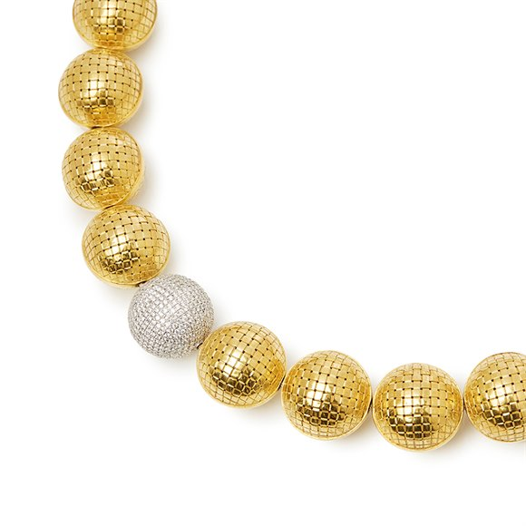 Bottega Veneta 18k Yellow & White Gold Diamond Sfera Statement Necklace