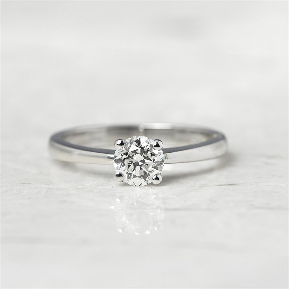 18k White Gold Round Brilliant Cut 0.64ct Diamond Ring