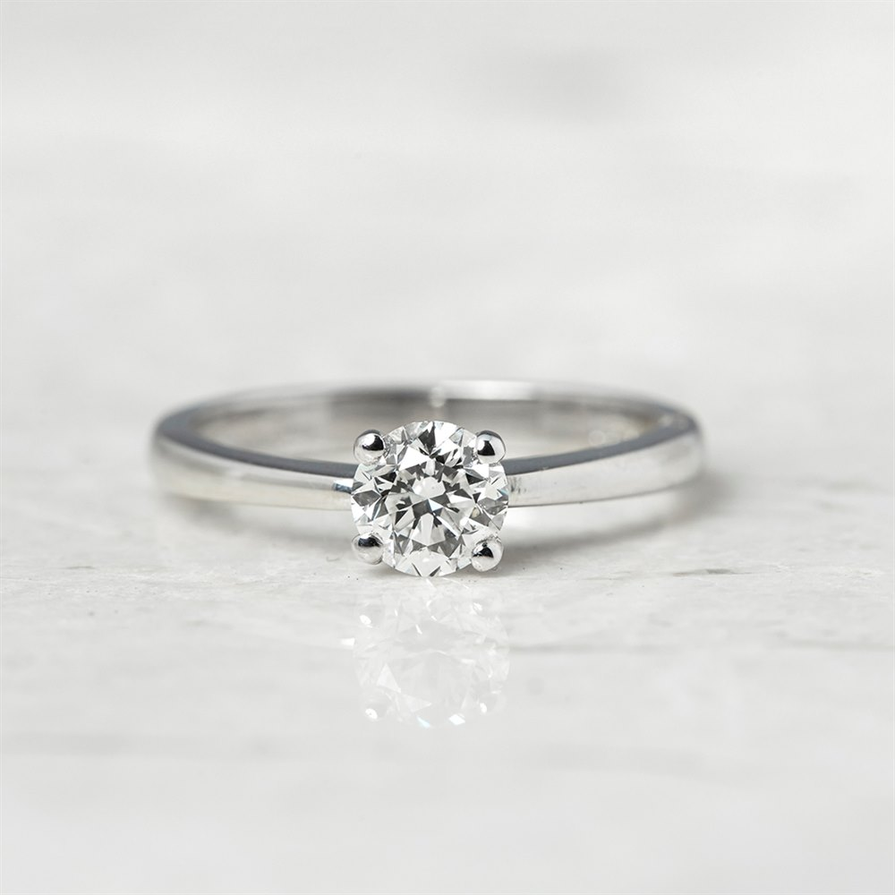Diamond 18k White Gold Round Brilliant Cut 0.64ct Diamond Ring