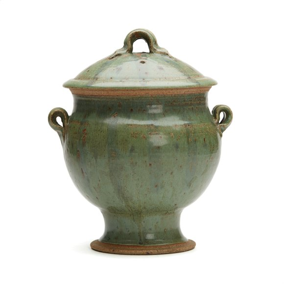 VINTAGE STUDIO POTTERY TWIN HANDLED LIDDED URN 20C