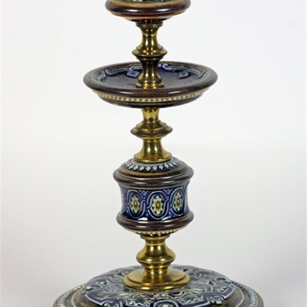 Doulton Lambeth Antique Doulton Lambeth Candlestick By Rosina Brown C.1882