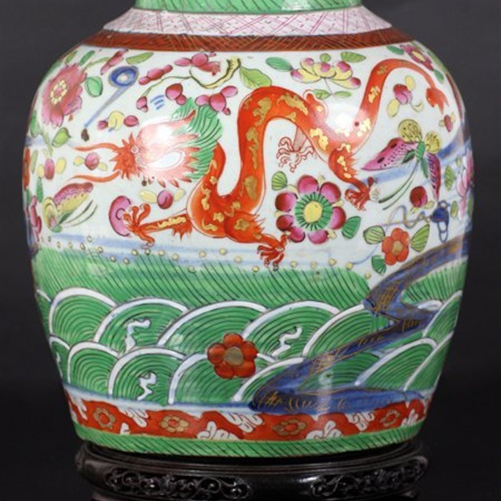 Chinese Clobbered Jar On Stand 18th C.