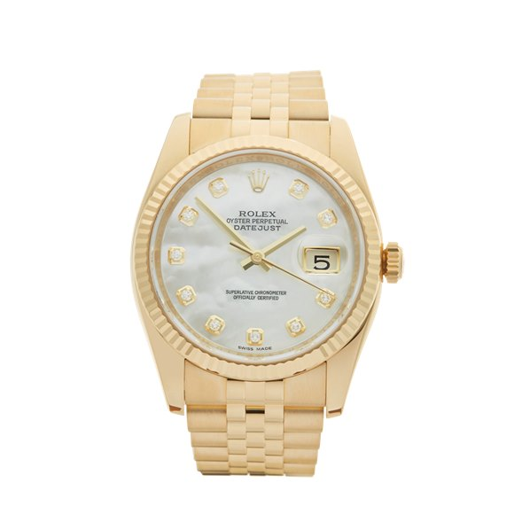 Rolex DateJust 36 Mother of Pearl Diamond 18k Yellow Gold - 116238