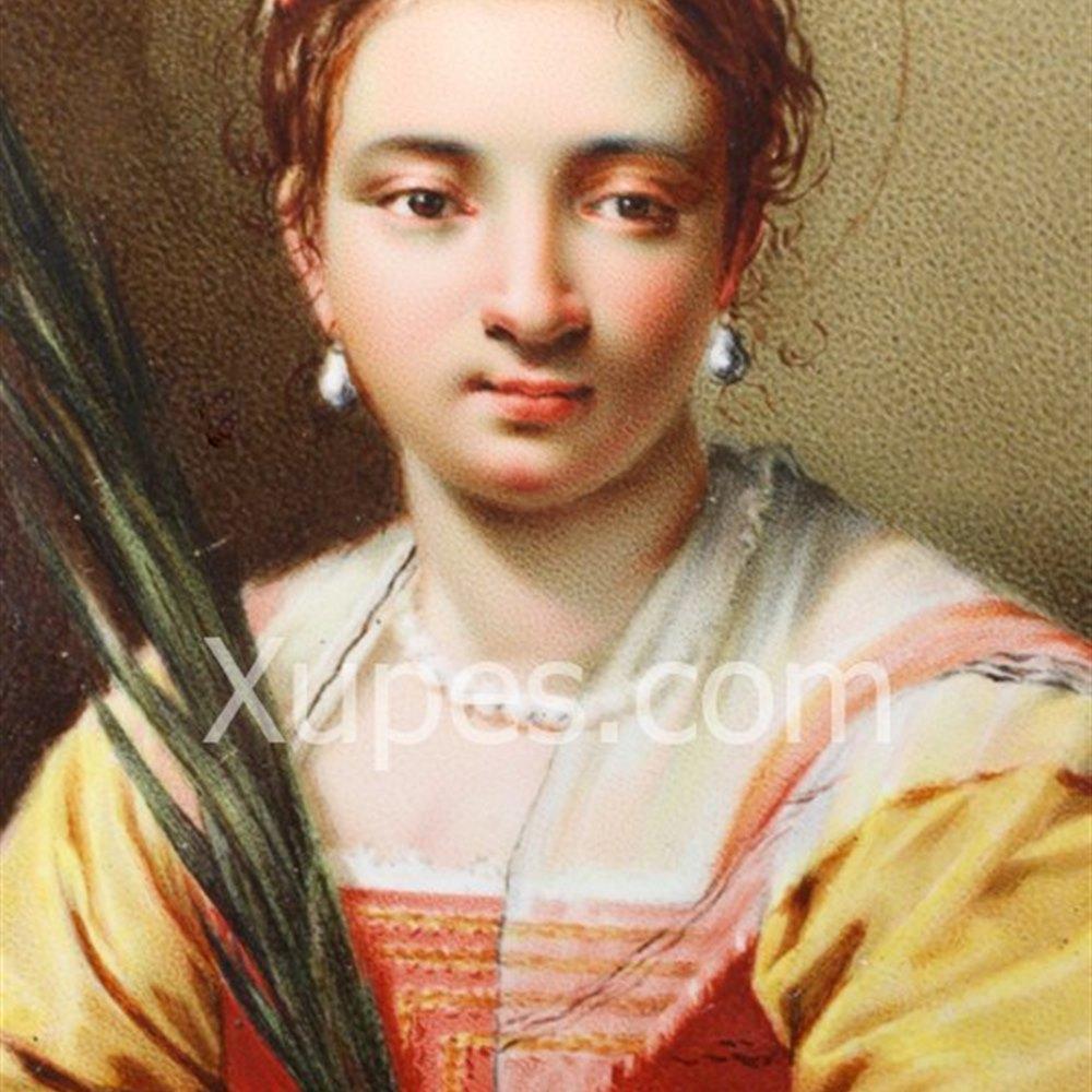 Florentine Lady Enamel Plaque 19th Century