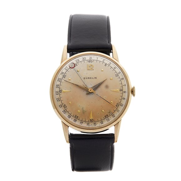 Gubelin Vintage Pointed Date 33mm 10K Yellow Gold