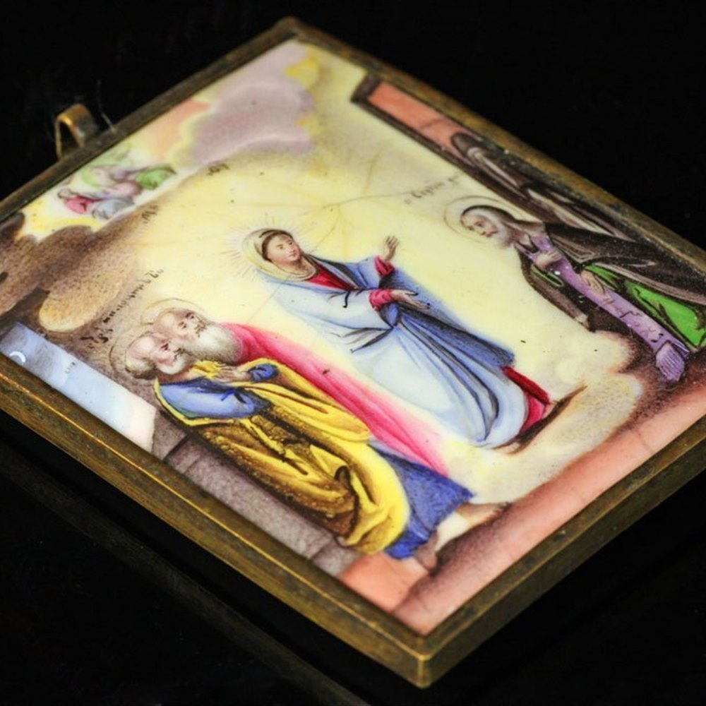 Religious Enamel Angelic Visitation Plaque 19th Century