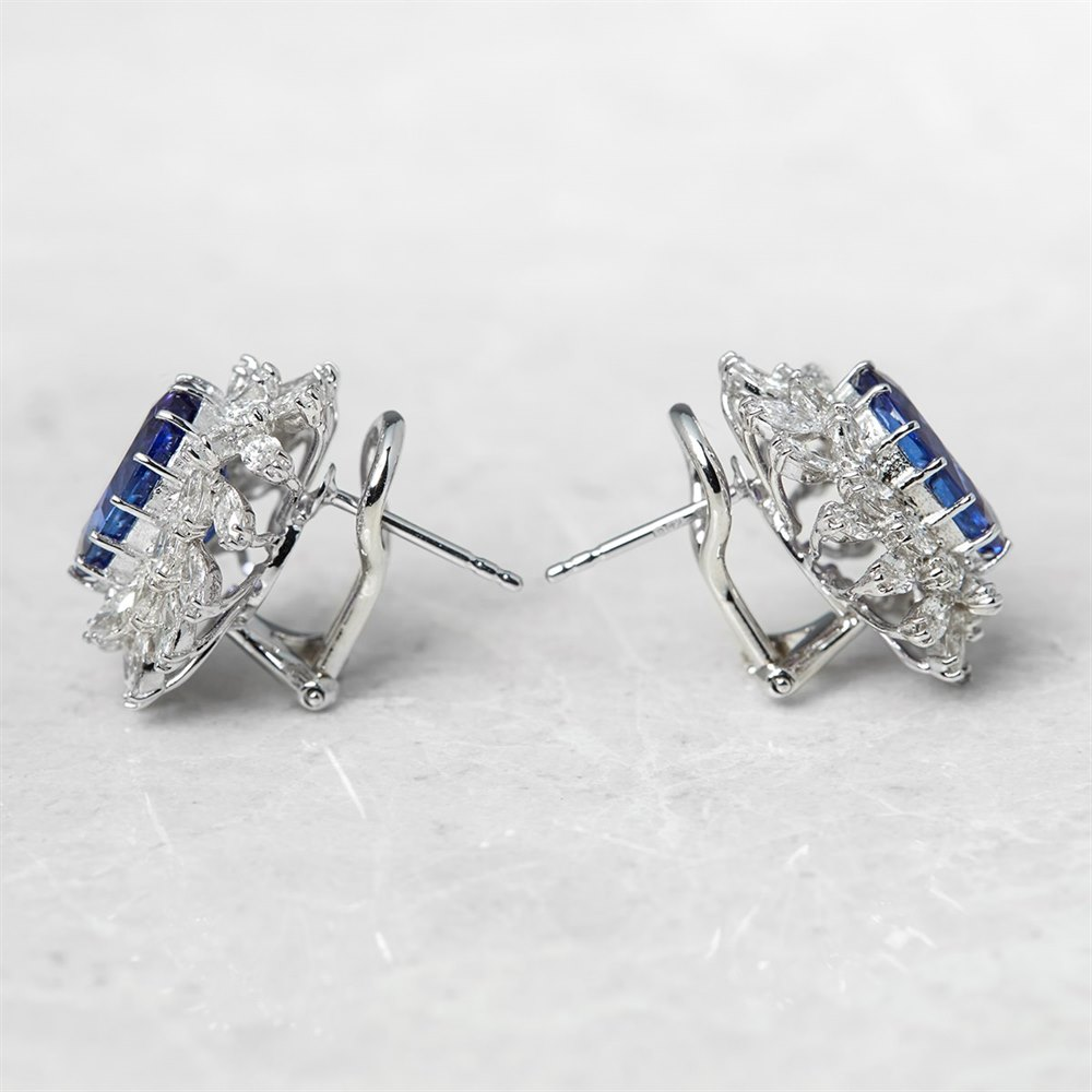 18k White Gold, total weight - 11.42 grams  18k White Gold Oval Mixed Cut Tanzanite & Marquise Cut Diamond Earrings