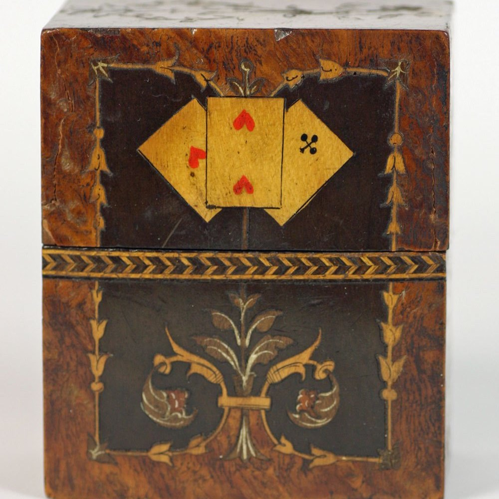 Antique Italian Inlaid Wooden Gaming Card Box 19th C.