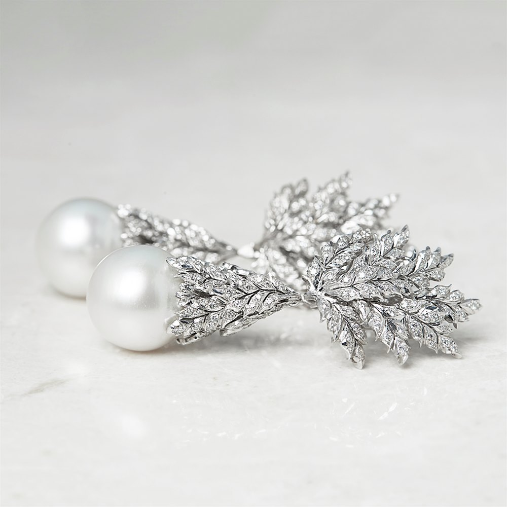 Buccellati 18k White Gold South Sea Pearl & Diamond Detachable Drop Earrings