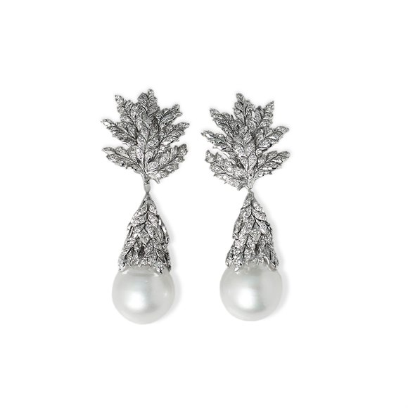 Buccellati 18k White Gold South Sea Pearl & 2.71ct Diamond Drop Earrings