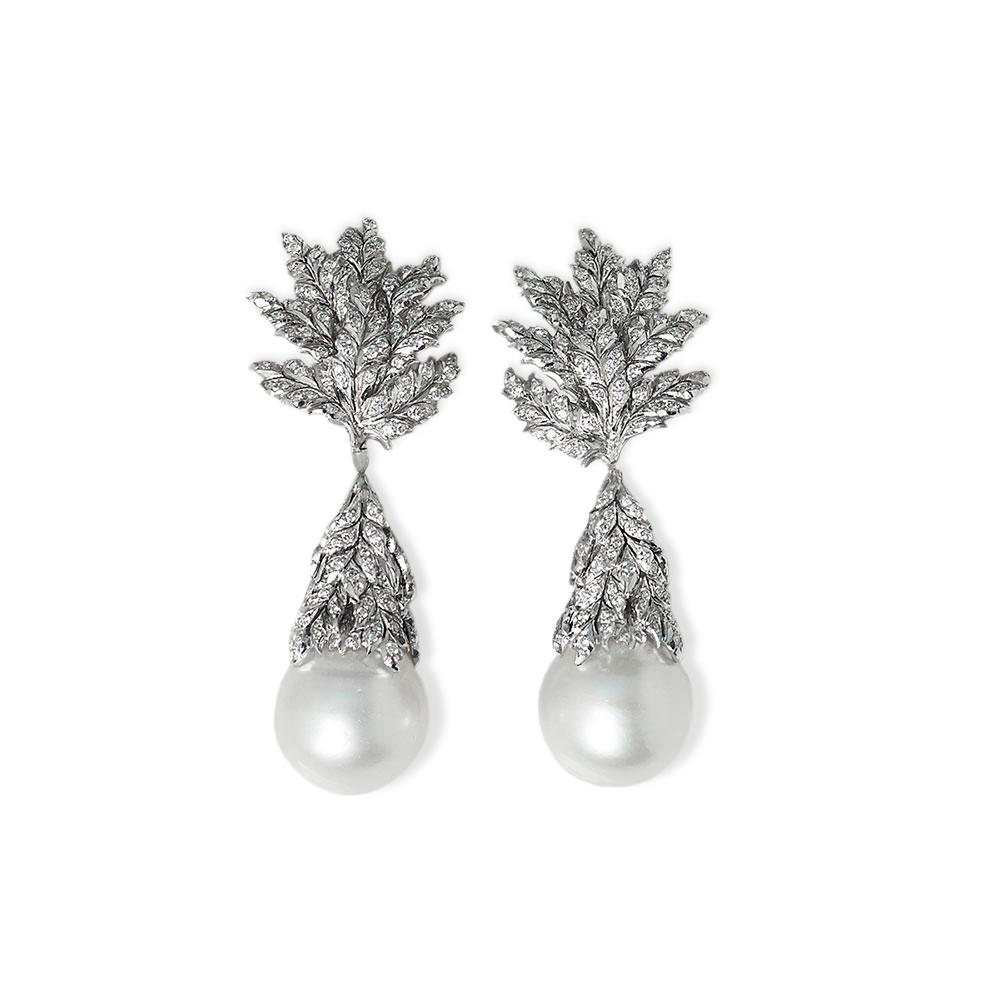 Buccellati 18k White Gold South Sea Pearl 2 71ct Diamond Drop Earrings