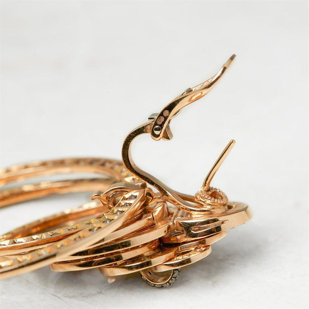 De Grisogono 18k Rose Gold 22.00ct Diamond Gypsy Earrings