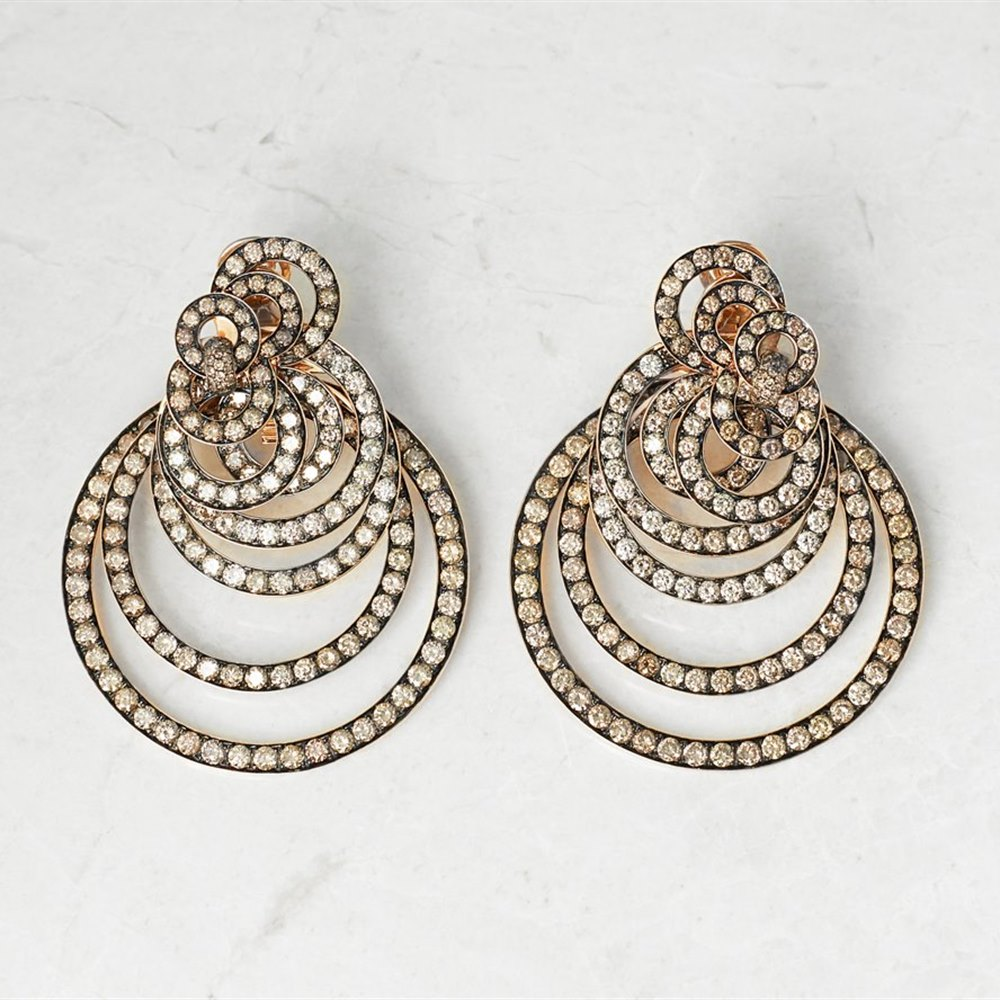 De Grisogono 18k Rose Gold 22.00ct Diamond Gypsy Earrings