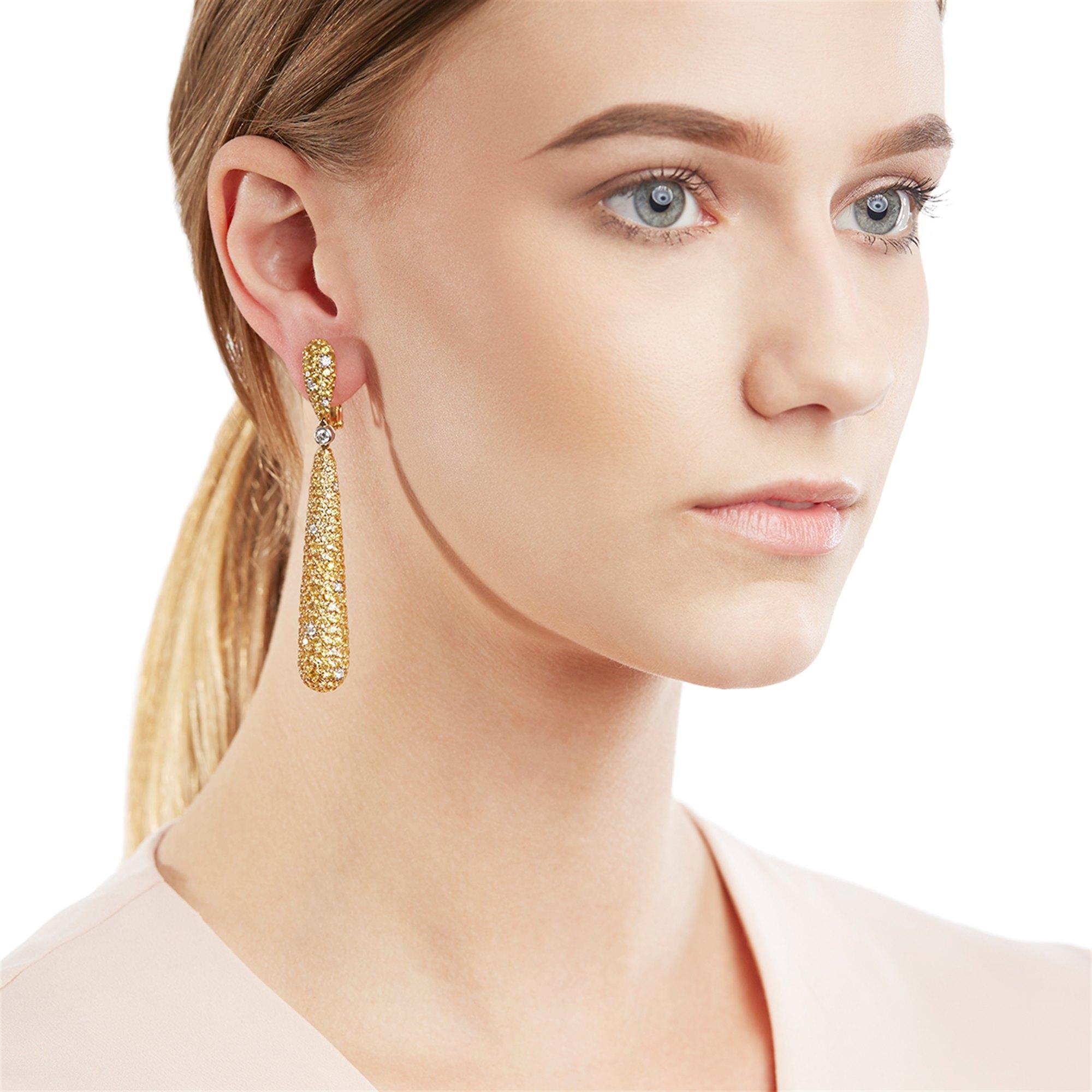 De Grisogono 18k Yellow Gold Yellow Sapphire & White Diamond Gocce Drop Earrings