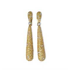 De Grisogono 18k Yellow Gold Yellow & White Diamond Gocce Drop Earrings