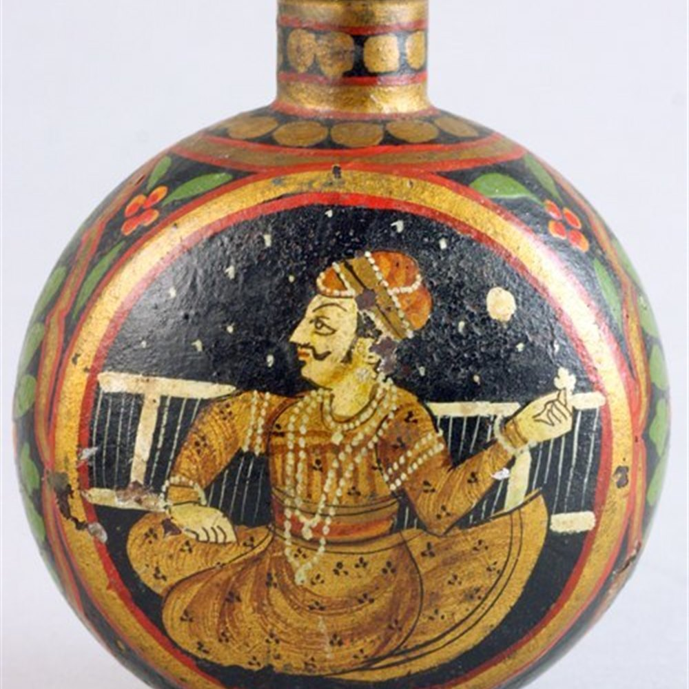 Antique Asian Indian Painted Metal Oil Jar 19th C.