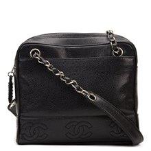 Chanel Black Caviar Leather Vintage Timeless Logo Trim Shoulder Bag