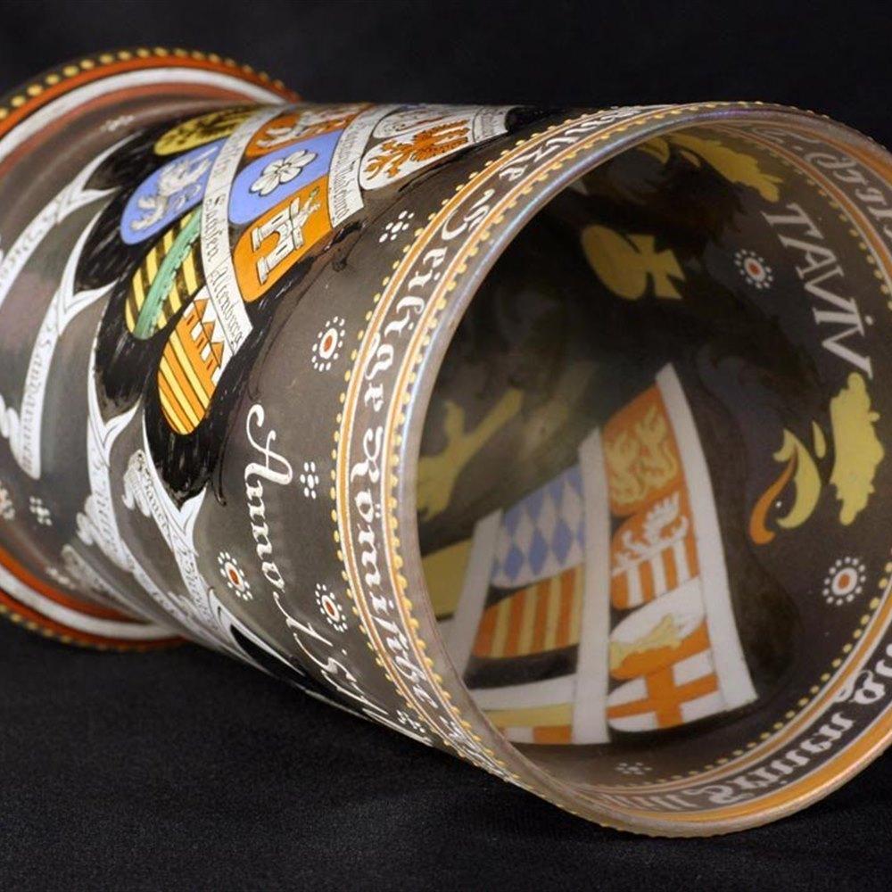 German/Bohemian Roman Empire Historismus Enamelled Glass Beaker 19th C.