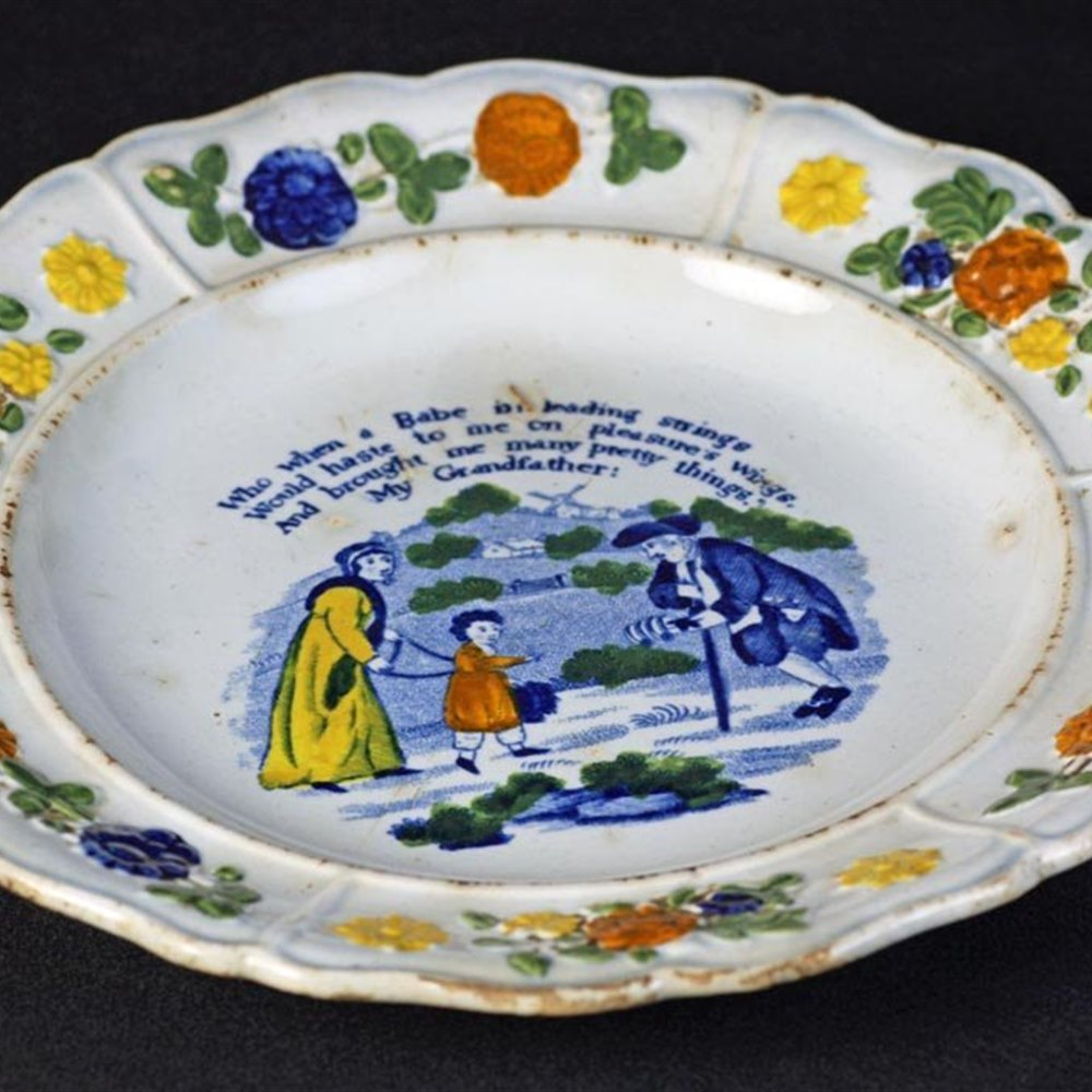Staffordshire Pearlware Childs Plate Early 19th Century