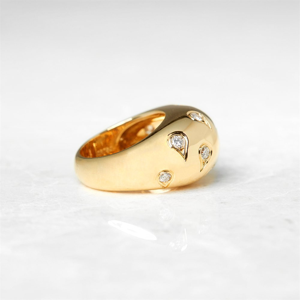 Cartier 18k Yellow Gold 1.00ct Diamond Bombe Ring