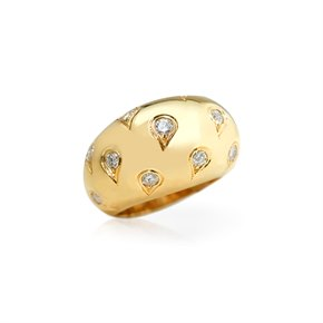 Cartier 18k Yellow Gold Diamond Bombe Ring