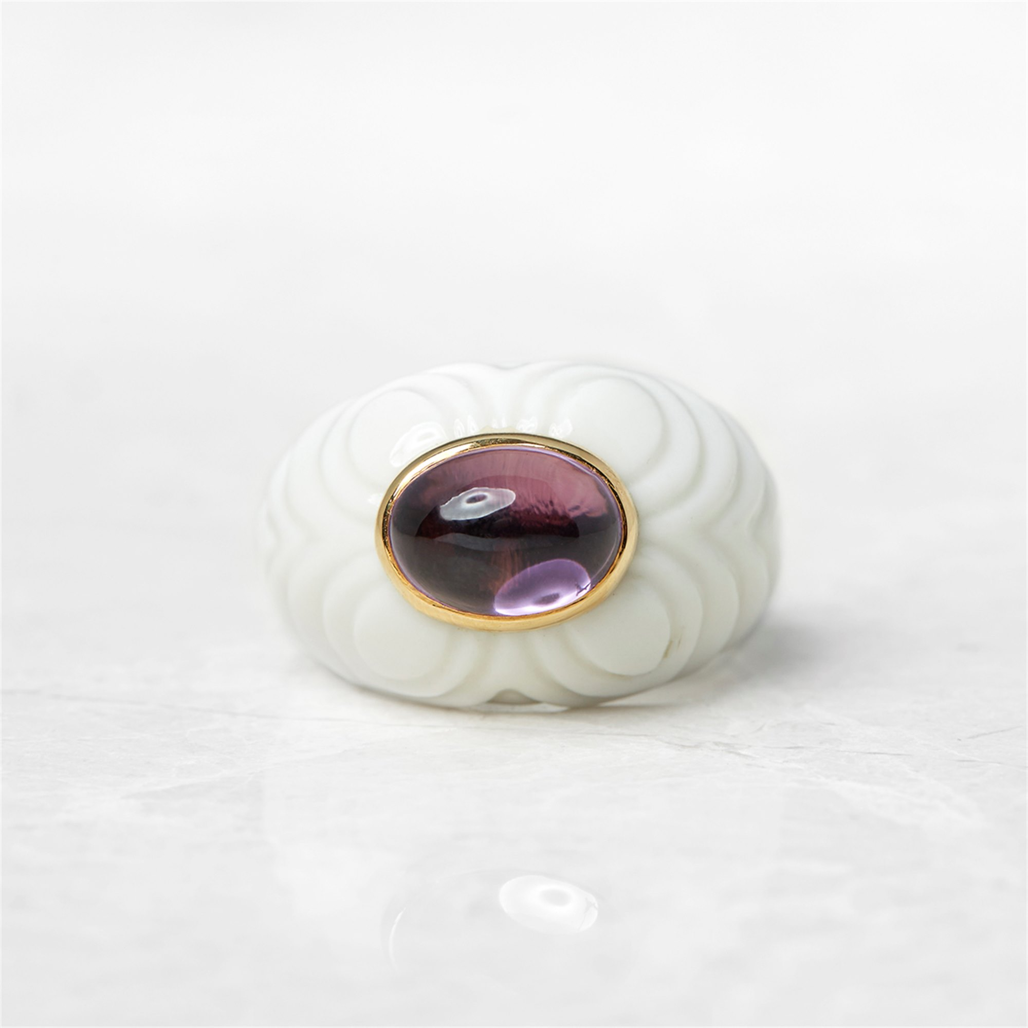 Bulgari 18k Yellow Gold & Porcelain Amethyst Chandra Cocktail Ring